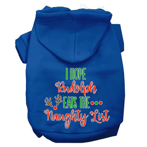 Hope Rudolph Eats Naughty List Screen Print Dog Hoodie-Dog Clothing-Bella's PetStor