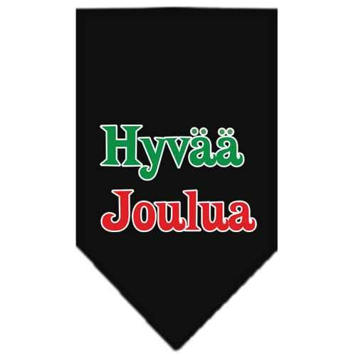 Hyvaa Joulua Screen Print Bandana Black Small-hyvaa joulua screen print bandana holiday pet products-Bella's PetStor