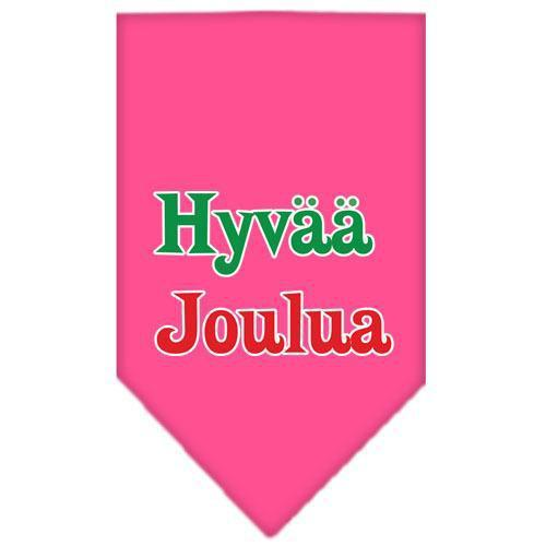 Hyvaa Joulua Screen Print Bandana Bright Pink Large-hyvaa joulua screen print bandana holiday pet products-Bella's PetStor