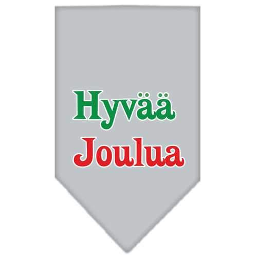 Hyvaa Joulua Screen Print Bandana Grey Small-hyvaa joulua screen print bandana holiday pet products-Bella's PetStor