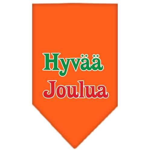 Hyvaa Joulua Screen Print Bandana Orange Large-hyvaa joulua screen print bandana holiday pet products-Bella's PetStor
