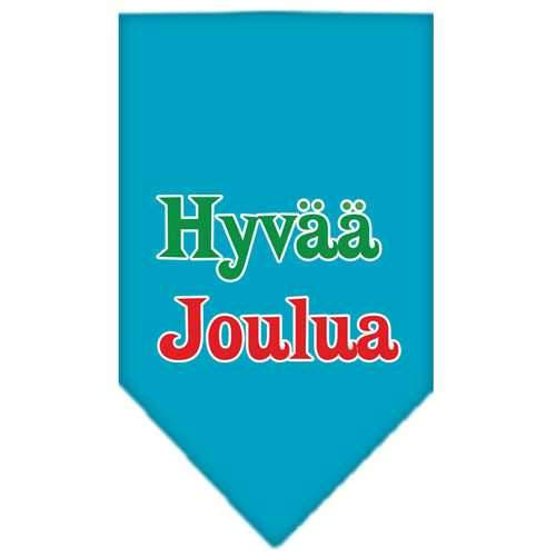Hyvaa Joulua Screen Print Bandana Turquoise Large-hyvaa joulua screen print bandana holiday pet products-Bella's PetStor