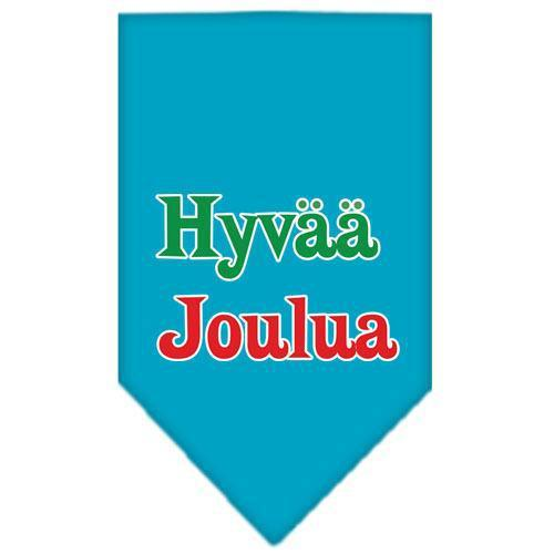 Hyvaa Joulua Screen Print Bandana Turquoise Small-hyvaa joulua screen print bandana holiday pet products-Bella's PetStor