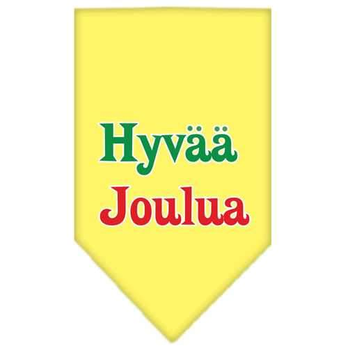 Hyvaa Joulua Screen Print Bandana Yellow Small-hyvaa joulua screen print bandana holiday pet products-Bella's PetStor