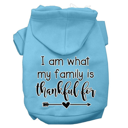 I Am What My Family Is Thankful For Screen Print Dog Hoodie-Thanksgiving-Bella's PetStor