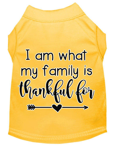 I Am What My Family Is Thankful For Screen Print Dog Shirt-Thanksgiving-Bella's PetStor