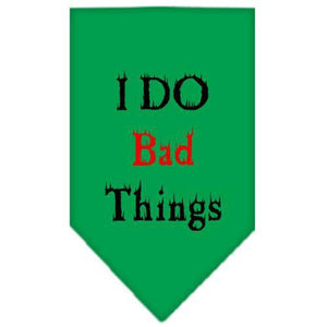 I Do Bad Things Screen Print Bandana Emerald Green Large-i do bad things screen print bandana-Bella's PetStor