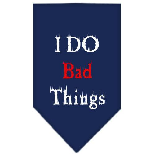 I Do Bad Things Screen Print Bandana Navy Blue Small-i do bad things screen print bandana-Bella's PetStor