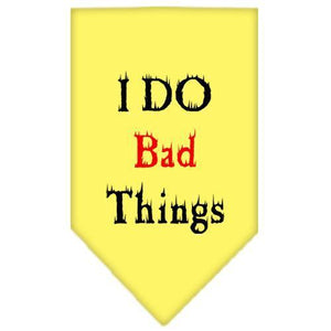 I Do Bad Things Screen Print Bandana Yellow Small-i do bad things screen print bandana-Bella's PetStor