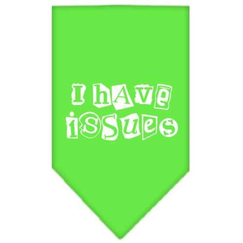 I Have Issues Screen Print Bandana Lime Green Small-i have issues screen print bandana-Bella's PetStor