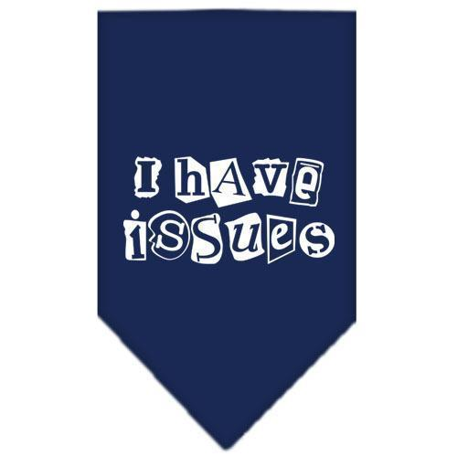 I Have Issues Screen Print Bandana Navy Blue large-i have issues screen print bandana-Bella's PetStor