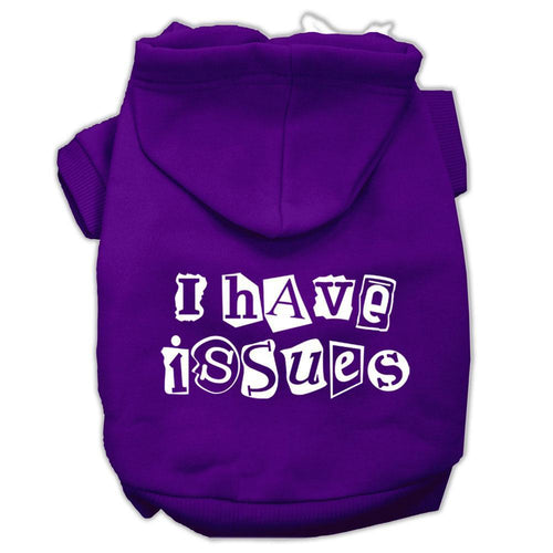 I Have Issues Screen Printed Dog Pet Hoodies Size-Dog Hoodies-Bella's PetStor