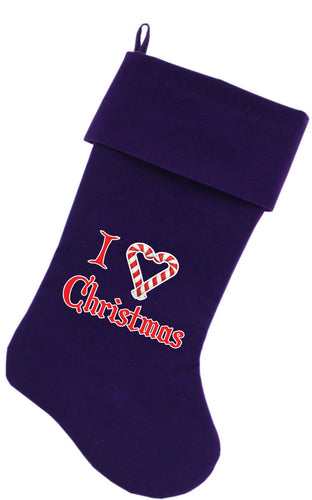 I Heart Christmas Screen Print 18 Inch Velvet Christmas Stocking-Christmas-Bella's PetStor