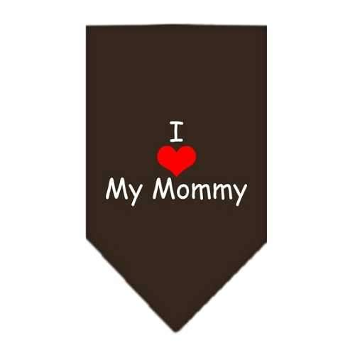 I Heart My Mommy Screen Print Bandana Cocoa Small-Bandanas-Bella's PetStor