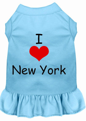 I Heart New York Screen Print Dress Baby Blue-Dog Clothing-Bella's PetStor
