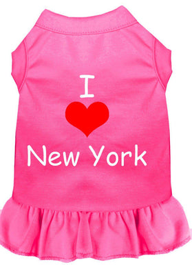 I Heart New York Screen Print Dress Bright Pink-Dog Clothing-Bella's PetStor