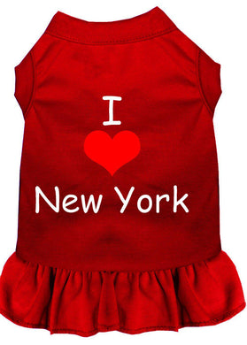I Heart New York Screen Print Dress Red-Dog Clothing-Bella's PetStor