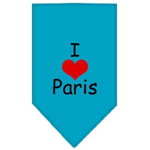 I Heart Paris Screen Print Bandana Turquoise Small-i heart paris screen print bandana-Bella's PetStor