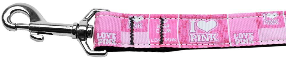 I Heart Pink Nylon Dog Leash Inch Wide Long-DOGS-Bella's PetStor