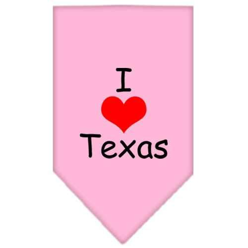 I Heart Texas Screen Print Bandana Light Pink Small-i heart texas screen print bandana-Bella's PetStor