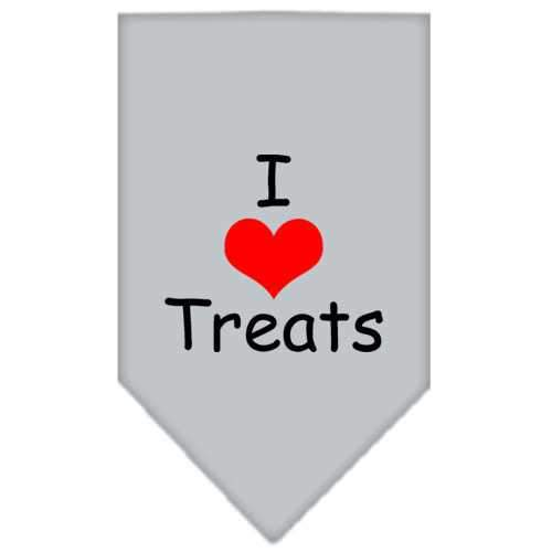 I Heart Treats Screen Print Bandana Grey Small-i heart treats screen print bandana-Bella's PetStor