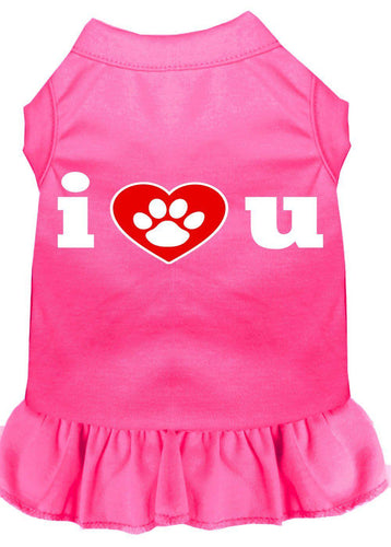 I Heart You Screen Print Dress Bright Pink-Dog Clothing-Bella's PetStor