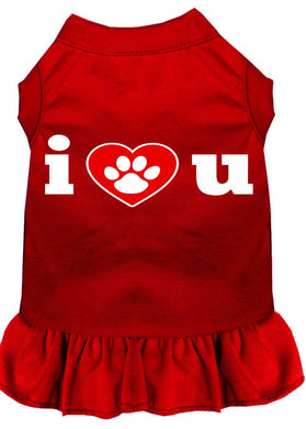 I Heart You Screen Print Dress Red-Dog Clothing-Bella's PetStor