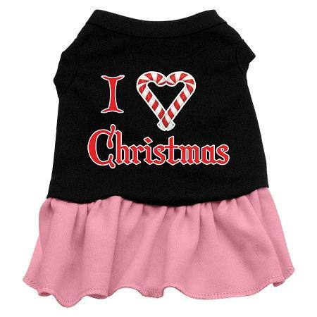 I Love Christmas Screen Print Dress Black With Pink/Red Ruffle-Christmas, Hannakuh-Bella's PetStor