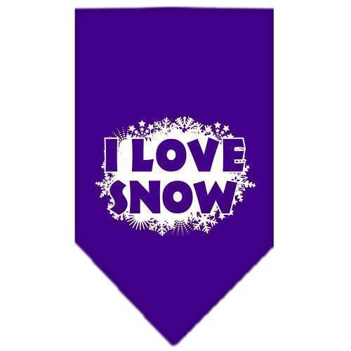 I Love Snow Screen Print Bandana-Christmas, Hannakuh-Bella's PetStor