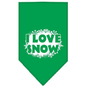 I Love Snow Screen Print Bandana Emerald Green Small-i love snow screen print bandana holiday pet products-Bella's PetStor