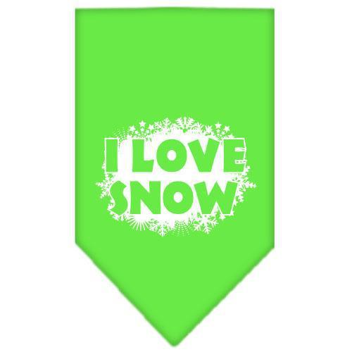 I Love Snow Screen Print Bandana Lime Green Large-i love snow screen print bandana holiday pet products-Bella's PetStor