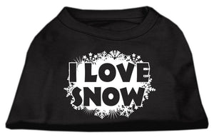I Love Snow Screenprint Shirts Black-Dog Clothing-Bella's PetStor