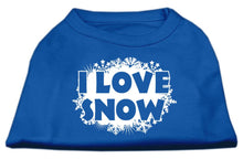 Load image into Gallery viewer, I Love Snow Screenprint Shirts Blue-Dog Clothing-Bella's PetStor