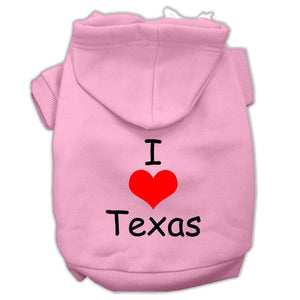 I Love Texas Screen Print Pet Hoodies Size-Dog Clothing-Bella's PetStor