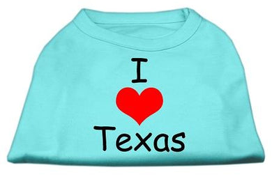 I Love Texas Screen Print Shirts Baby Blue-Dog Clothing-Bella's PetStor