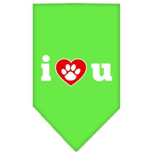 I Love U Screen Print Bandana Lime Green Small-i love u screen print bandana-Bella's PetStor