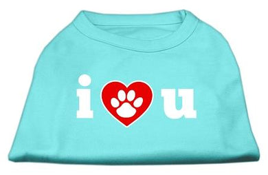 I Love U Screen Print Shirt Bright Pink-Dog Clothing-Bella's PetStor