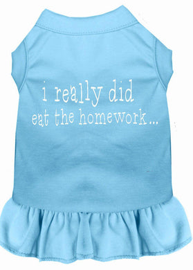 I Really Did Eat The Homework Screen Print Dress Baby Blue-Dog Clothing-Bella's PetStor