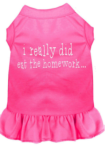 I Really Did Eat The Homework Screen Print Dress Bright Pink-Dog Clothing-Bella's PetStor