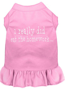 I Really Did Eat The Homework Screen Print Dress Light Pink-Dog Clothing-Bella's PetStor