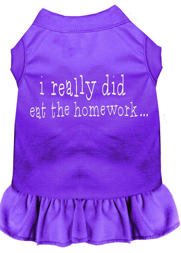 I Really Did Eat The Homework Screen Print Dress Purple-Dog Clothing-Bella's PetStor