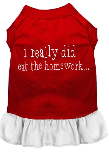I Really Did Eat The Homework Screen Print Dress Red-Dog Clothing-Bella's PetStor