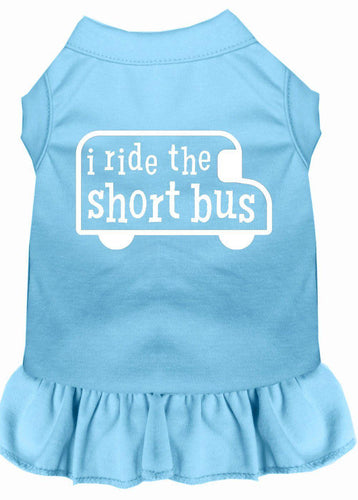 I Ride The Short Bus Screen Print Dress Baby Blue-Dog Clothing-Bella's PetStor