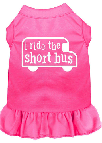 I Ride The Short Bus Screen Print Dress Bright Pink-Dog Clothing-Bella's PetStor
