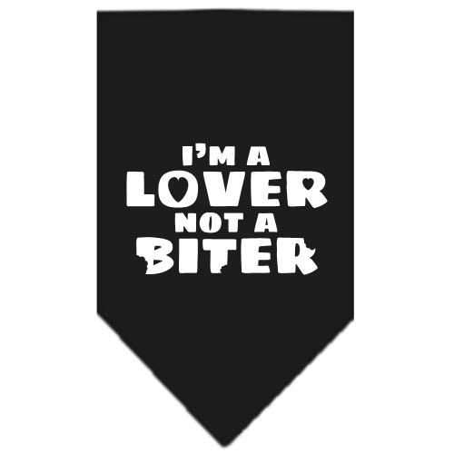I'm a Lover Not a Biter Screen Print Bandana Black Large-i m a lover not a biter screen print bandana-Bella's PetStor