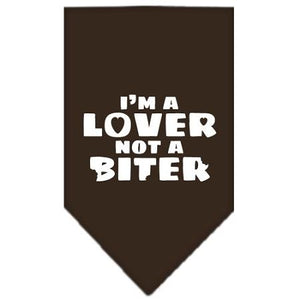 I'm a Lover Not a Biter Screen Print Bandana Cocoa Large-i m a lover not a biter screen print bandana-Bella's PetStor
