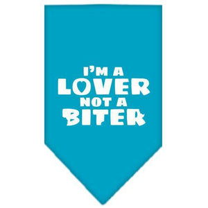 I'm a Lover Not a Biter Screen Print Bandana Turquoise Large-i m a lover not a biter screen print bandana-Bella's PetStor