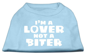I'm A Lover Not A Biter Screen Printed Dog Shirt Baby Blue-Dog Clothing-Bella's PetStor