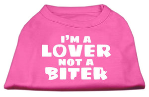 I'm A Lover Not A Biter Screen Printed Dog Shirt Bright Pink-Dog Clothing-Bella's PetStor