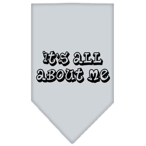 It's All About Me Screen Print Bandana Grey Large-it s all about me screen print bandana-Bella's PetStor